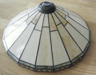 """Vtg SPECTRUM 20"""" MISSION STYLE Stained Glass LAMP SHADE Cream MESH"""