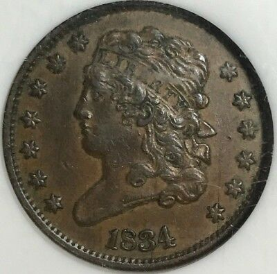 NGC AU55 BN 1834 1/2 Cent C-1 PAYPAL ONLY
