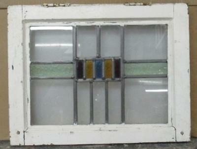 "OLD ENGLISH LEADED STAINED GLASS WINDOW Geometric Color Band 17.75"" x 13.75"""