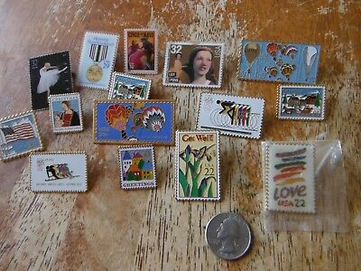 Lot of 15 Vintage US Postal Service Official Stamp Lapel Hat Pins Collection