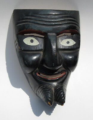 Vintage Hand Carved Painted Wood Folk Art Mask Black Red White Eyes Unique