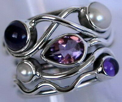 598 Gorgeous Amethyst & Pearl solid 925 sterling silver ring size T/10 rrp $99