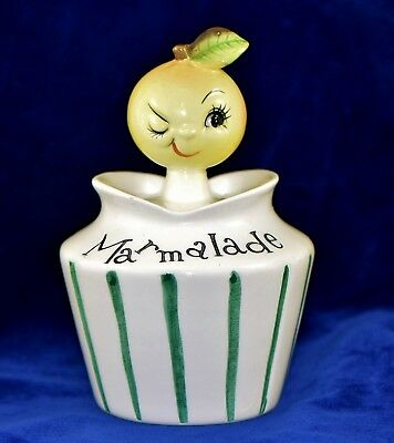 Lefton Anthropomorphic Hand Painted Pixieware Marmalade Jam Jar Pot with Spoon