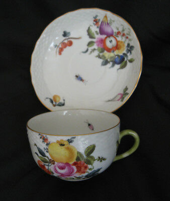 Herend Hungary Fruits And Flowers Tea Cup And Saucer Excellent Unused Condition.