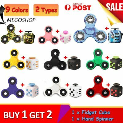 Fidget Cube + Hand Spinner Anxiety Stress Relief Focus Desk Toy Gift Adults Ki U