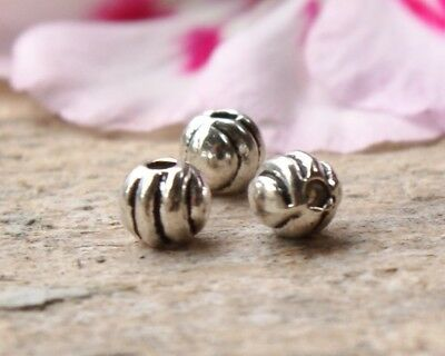 50 Metal Alloy Corrugated Pumpkin Style Spacer Beads 4mm x 4mm - Antique Silver