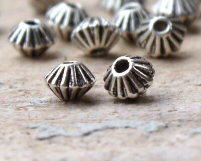50 Metal Alloy Bicone Spacer Beads 5mm x 4mm Antique Silver