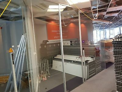 5 Metre Wide Single Office Toughened Glass Partition System With A Glass Door