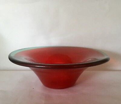 Vtg Murano Glass Italy Red Flaring Rim Bowl W/ Green Applied Edge  Foil Label
