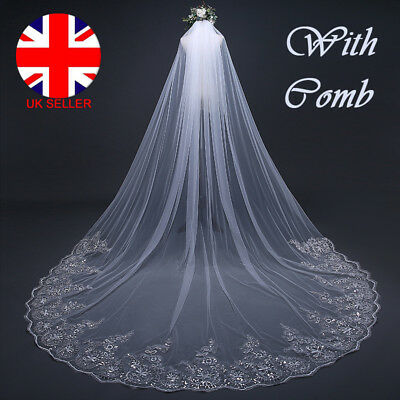 3M Long Bridal Wedding Veil Applique Edge Sequined Lace With Comb Single Layer D