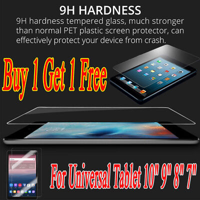"Clear Tempered Glass Screen Protector Film For Universal Tablet 10"" 9"" 8"" 7"" SH1"