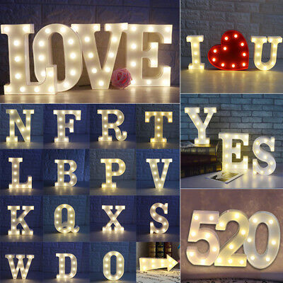 Alphabet 26 Letters Lights LED Light Up White Warm Plastic Standing Hanging A-Z