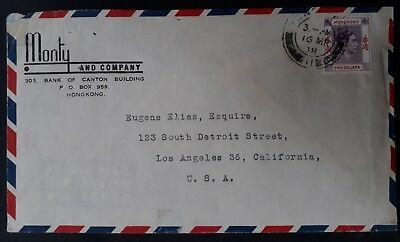 1938 Hong Kong Monty & Co Cover ties $2 KGVI stamp to Los Angeles USA