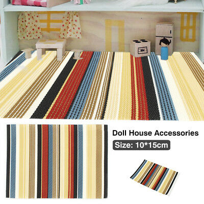 Striped Floor Carpet Sofa Doll House Miniature Furniture DIY Accessory Decor