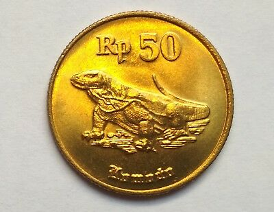 5 pcs Indonesia 1998 50 Rupiah Komodo Dragon UNC Alu Bronze
