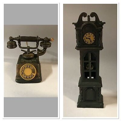 Collectible Pencil Sharpener - Die-Cast Metal - Telephone & Grandfather Clock