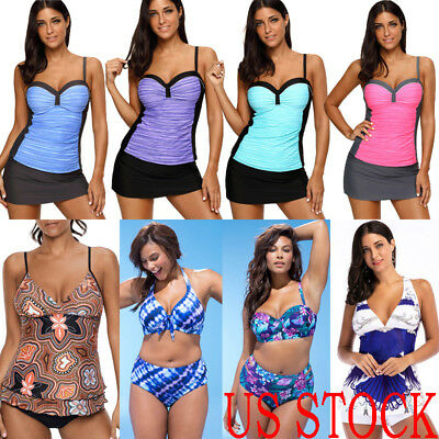 Hot Women Plus Size Tankini Swimdress Swimsuit Beachwear Push Up Bikini Swimwear