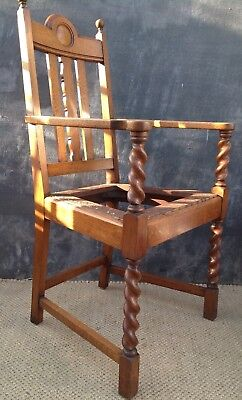 Oak Arts & Crafts style chair, re-upholstery project.