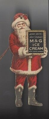 "M & G Ice Cream Santa Claus Point of Sale Dangler 6 1/2"" Tall excellent"