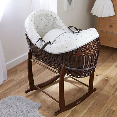Clair de Lune Lullaby Hearts Dark Crossover Noah Pod Wicker Moses Basket, Ivory