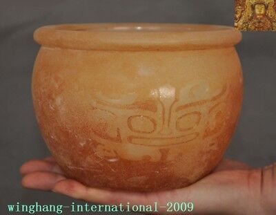 """5"""" China Old jade carved beast pattern Tanks Crock tank can pot canister jar tin"""