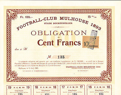 Football-Club Mulhouse 1893-Obligation Nr.135 von 1921