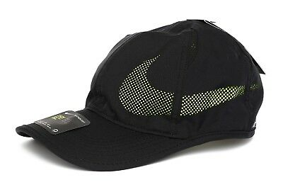 c103713a865 Nike Unisex Featherlite Aerobill Perforated Black Volt Swoosh Hat One Size  4271