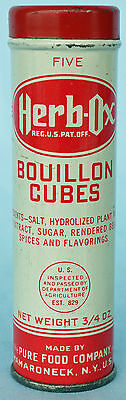 Vintage Herb-Ox Bouillon Cubes Tin Can .75 oz - ROUND Tin! GREAT Condition!