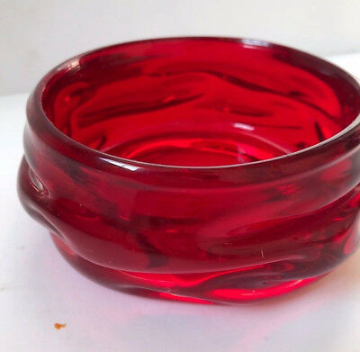 Vintage Whitefriars Geoffrey Baxter Art Glass Knobble Bowl Dish Ruby Red 50s 60s