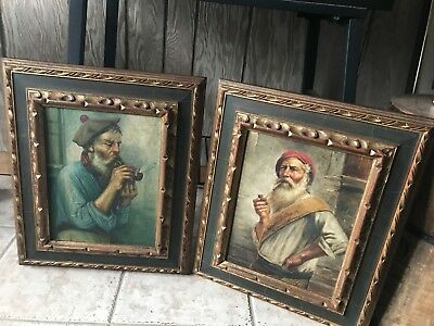 Pair Of Signed Vintage Oil Paintings- Signed Vitale- Old Men Smoking Pipes