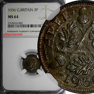 Great Britain George V Silver 1936 3 Pence NGC MS64 KM# 831