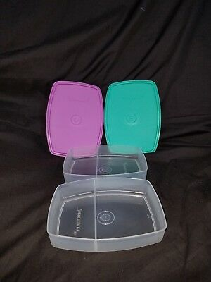 TUPPERWARE Set of 2 Packette Slim Side by Side Snack Lunch Divided Containers