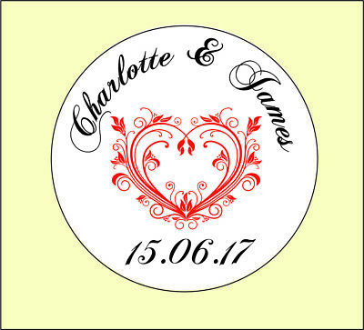Personalised Round Wedding Heart Stickers/Labels Envelopes Seals in 3 sizes