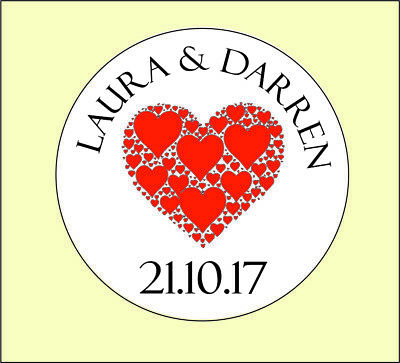 3 sizes Personalised Round Red Heart Wedding Stickers/Labels Envelopes Seals