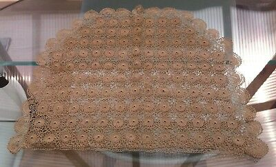 Vintage Beige Hand Crocheted Cotton Lace Tea Cosy / Cover