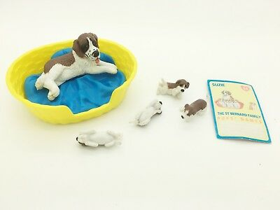 Vintage Puppy In My Pocket 54 Suzie St Bernard Dog Family Set with Puppies
