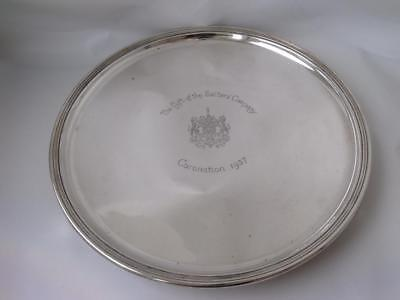 """Crested """"Coronation"""" Solid Sterling Silver Salver/ Tray 1936/ Dia 23.6 cm/ 534g"""