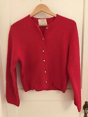Tally Ho Boiled Red Wool Sweater Jacket Size 10