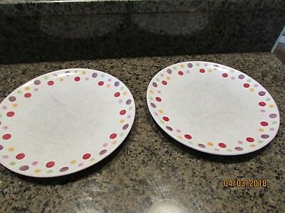 """2- Pampered Chef Simple Addition Polka Dot White 10 1/2"""" Dinner Plate Scratched"""