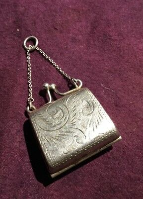 SILVER.  Stamp box / Pill Box    Small Purse. Hallmarked