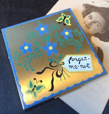 """RARE! Vintage ELGIN AMERICAN """"FORGET ME NOT"""" Powder Compact"""