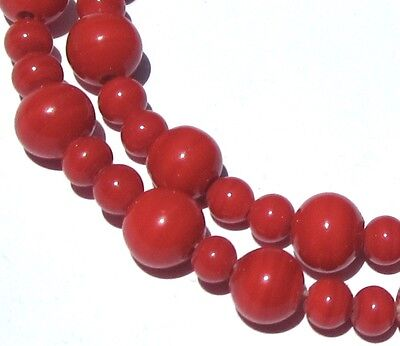 62 Beautiful Old Tiny/small Fire Red Swirled Japanese Vintage Glass Beads