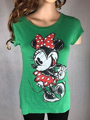 Disney Minnie Mouse Junior Medium short sleeve Graphic T Shirt Top Green