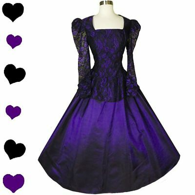 Vintage 80s Purple Black Lace Taffeta Full Skirt Ballgown Prom Party Dress M Med