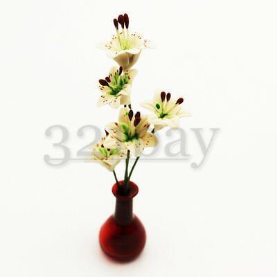 5 pcs. Clay Lily Flowers for your Mini Garden 1inch scale White Lily Flower Deco