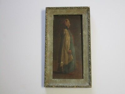 Antique Masterful Painting Orientalism Portrait Signed Rd 19Th Century Vintage