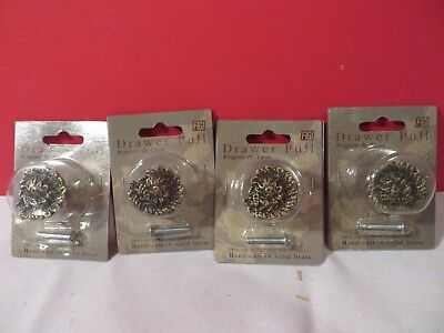 Lot of 4 Solid Brass Round Cabinet Drawer Door Pull Knob FiGi New old Stock