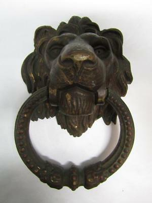 "1800's Bronze-Brass Large Lion Head Door Knocker Very Old 9"" X 6""  Over 5 Lbs"