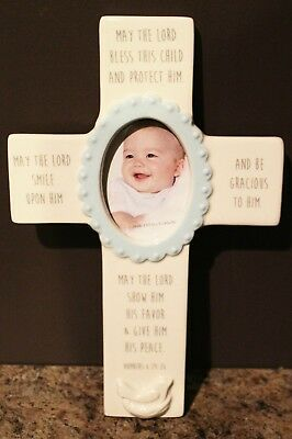 Baby Birth/baptism Ceramic Cross Frame: Numbers 6:24 May Lord Bless This Child