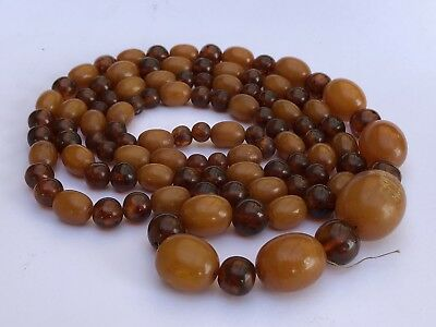"""Antique Chinese Butterscotch Baltic Egg Yolk AMBER Bead Graduated Necklace 39"""""""